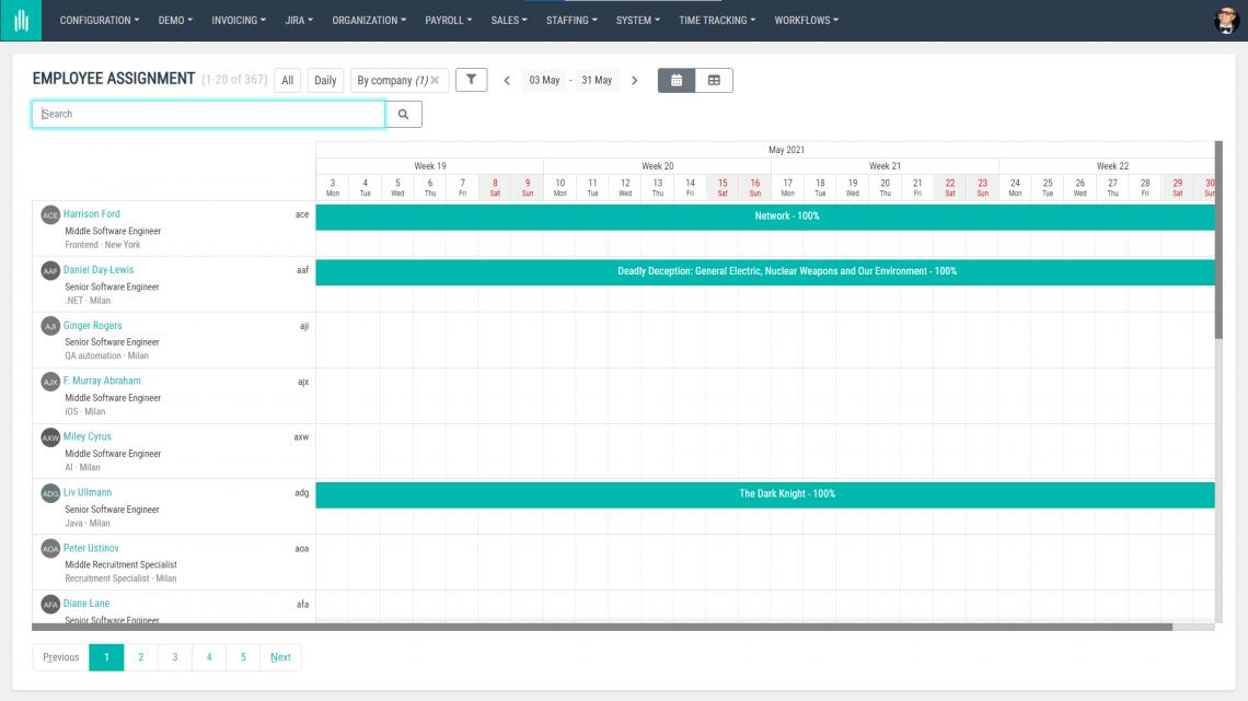 AllPro screenshot employee assignment view