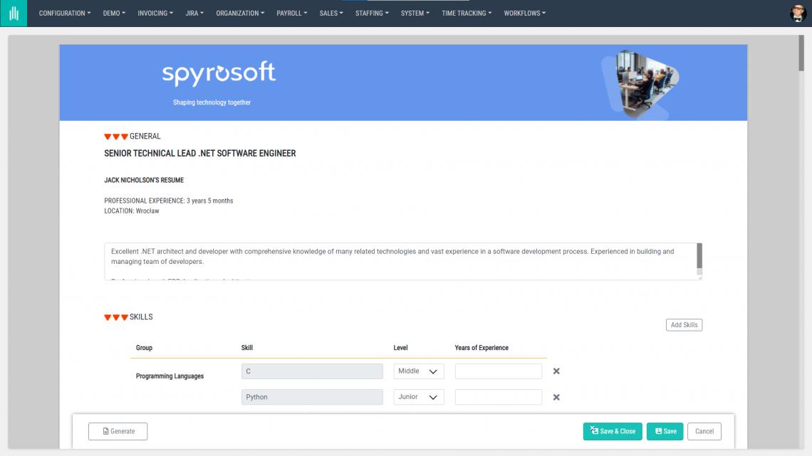 AllPro screenshot employee resume